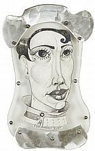 Portrait de femme. Dessin au crayon signé en bas, cadre en métal et plexig