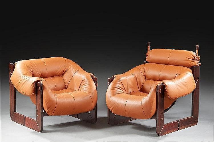 Lafer Percival ( né en 1936 )  Suite de deux fauteuils de repos à structur