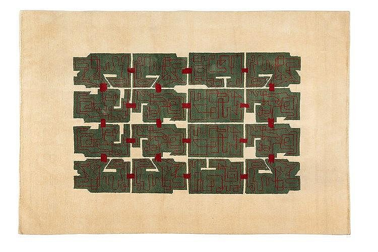Ivan Da Silva Bruhns (1881-1980) Grand tapis rectangulaire en laine , à d