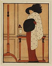 Bernard BOUTET DE MONVEL (1881-1949) Elégante au chapeau. Eau-forte, aqua