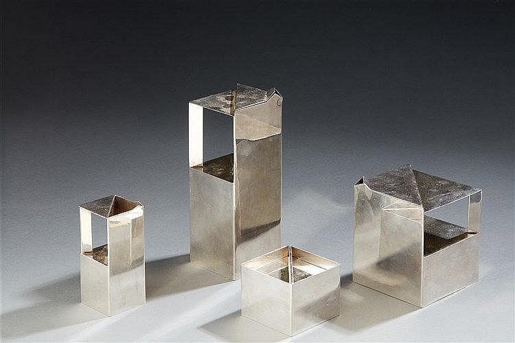 CHRISTOFLE ?& Jacques CITOLEUX (XXe ) Service Géométrie en métal argenté