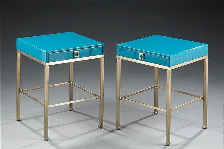 Guy Lefevre (XXe ) ?& Maison Jansen  Paire de tables d'appoint à piètemen