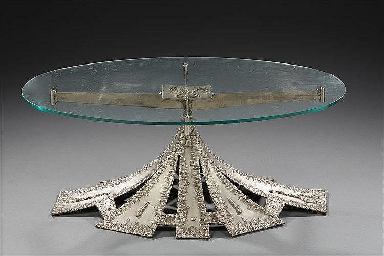 Amilcar Zannoni (1922-2009) Table basse brutaliste en inox signée et numéro