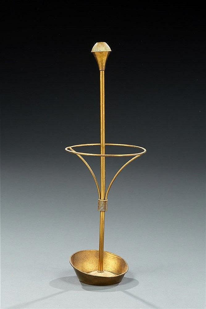 Mathieu MATEGOT (1910-2001) Porte-parapluie en laiton doré. Circa 1950.