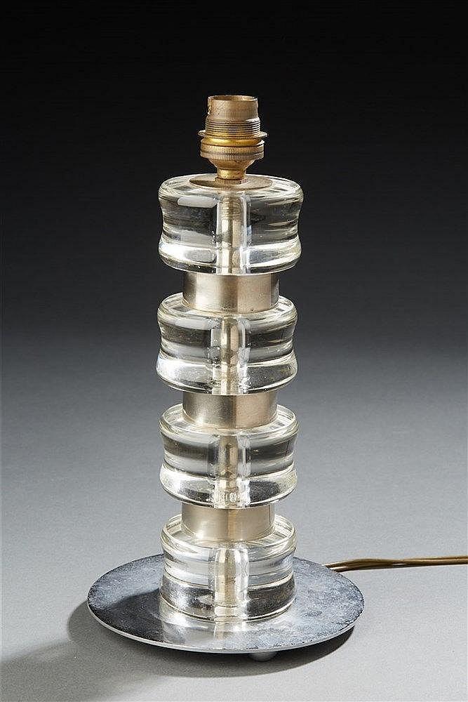 Lampe  en verre et metal H. : 25 cm