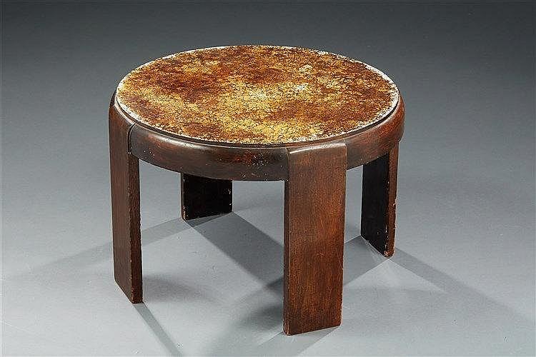 Jean Dunand (dans le goût de) Table basse circulaire en laque à quatre large