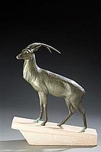 Max Le Verrier (1891-1973 ) Sculpture en bronze représentant une antilope
