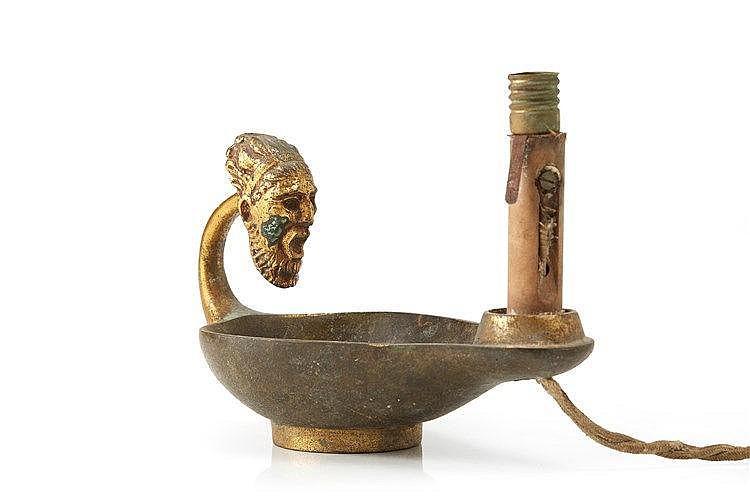 Max Le Verrier (attribué à) Pied de lampe en bronze partiellement doré.