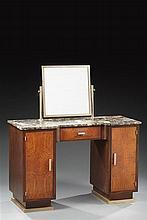 Coiffeuse moderniste  en placage de bois et métal chromé à double caissons