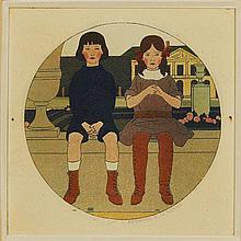 Bernard BOUTET DE MONVEL (1881-1949) Frère et sœur (1911).  Eau-forte, aq