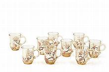 Emile GALLé (1846-1904) Suite de six verres à anses à décor émaillés de ch