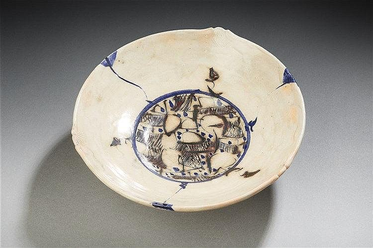 Catherine Vanier?(né en 1943) Coupe ronde sur piédouche en céramique émai