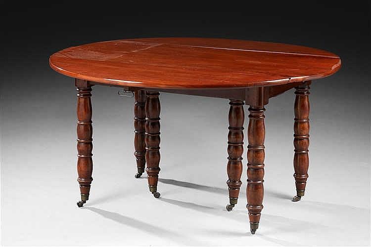 Table de salle manger pliante en acajou pieds jacob epoq for Table salle a manger solde