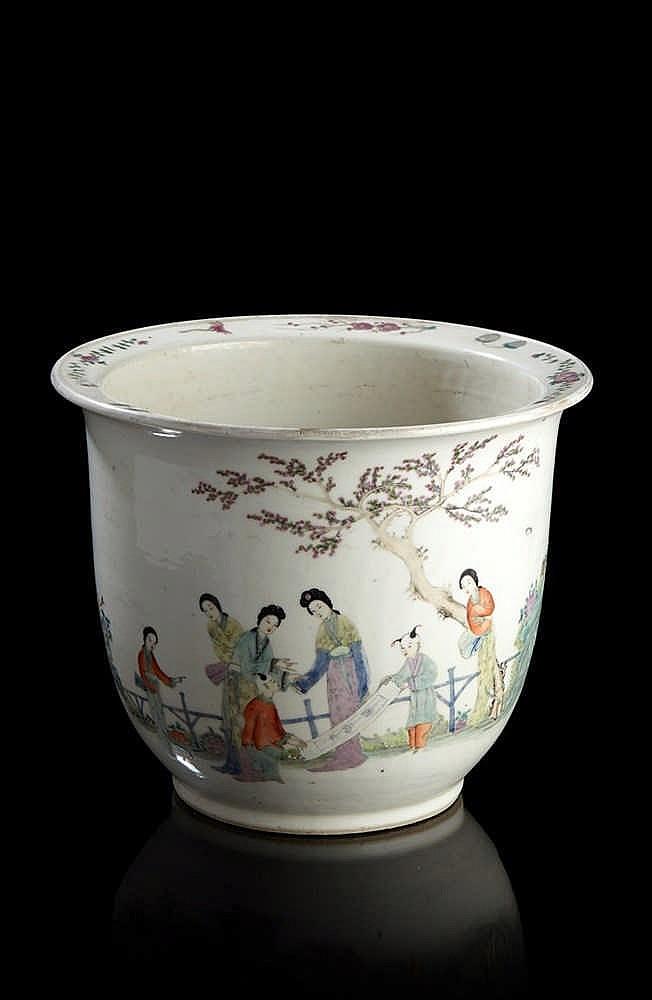 Chine cache pot en porcelaine d cor en maux polychromes de for Porcelaine de chine
