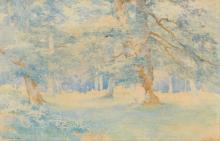 JOSEPH-CLÉMENT-MAXIME JEANNOT (1855-?) - Vue de Fontainebleau Aquarelle signée en bas à gauche 3