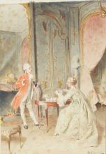 BERNARD LOUIS BORIONE (1865-?) - Scène d'intérieur Aquarelle sur papier signée, située et datée
