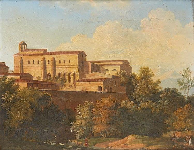 Ecole du XIXe siècle dans le goût de BERTIN  Palais italien sur les hauteur