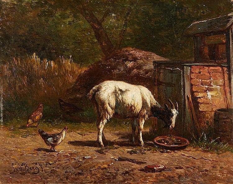 SUDBERG ?   Huile sur panneau figurant une chèvre et des poules dans une co