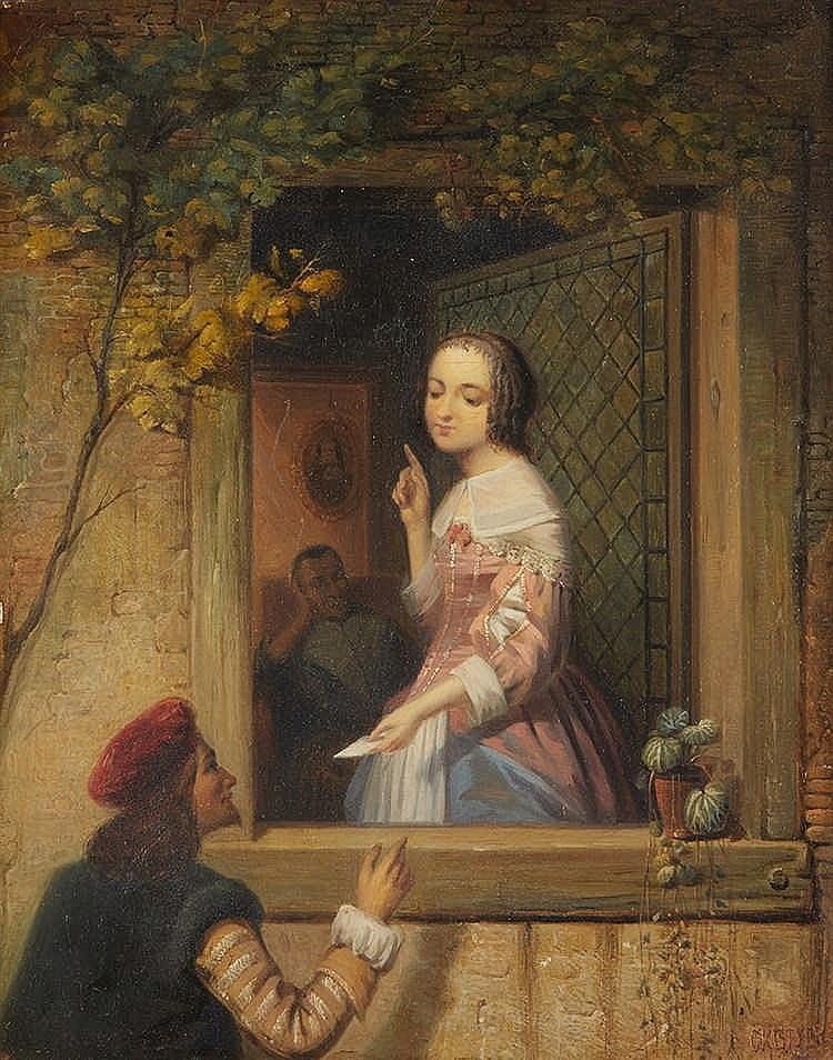 Arnoldus Gijsbertus GRETSER (1815-1864)   Le billet doux.  Huile sur pannea