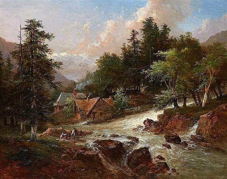 Louis Étienne WATELET (1780-1866) Le torrent. Huile sur toile signée.