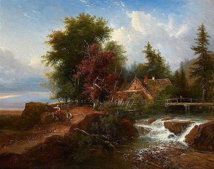 Louis Étienne WATELET (1780-1866)   Le torrent.   Huile sur toile signée et