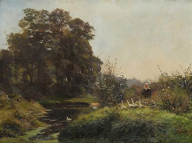 GIRARDET Eugène (1853-1907) Gardeuse d'oies à la rivière. Huile sur toil