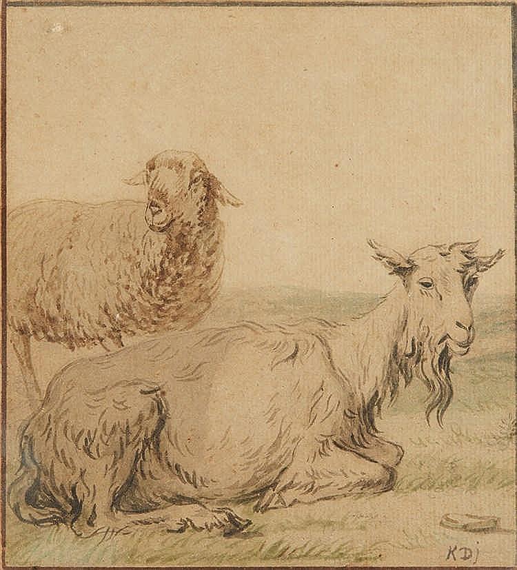 D'après DUJARDIN.   Mouton et chèvre.   Aquarelle.   Epoque XVIIIe siècle.