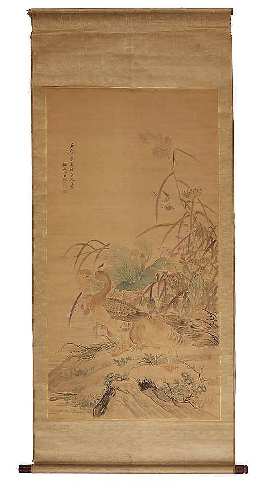 Important rouleau dévoillant une aquarelle marouflée sur tissus figurant