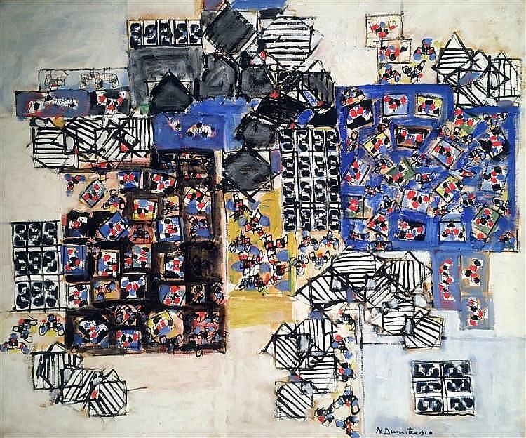 Natalia DUMITRESCO (1915-1997)   Sans titre.   Peinture sur toile, signée e