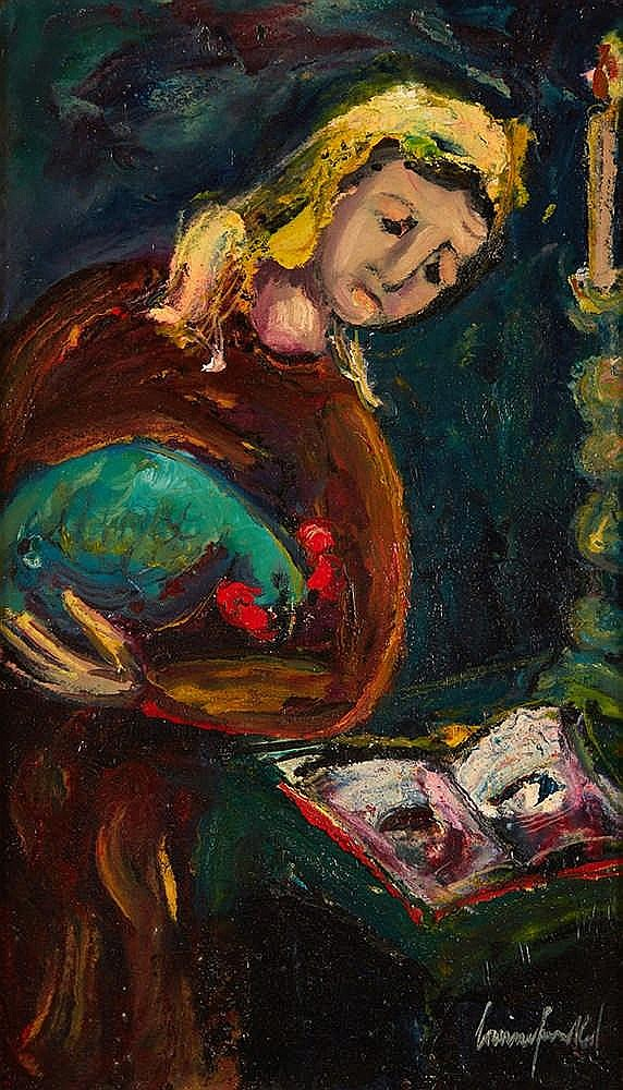 Boris S FRENKEL (1895-1984)   Jeune juive au coq.  Huile sur toile, signée