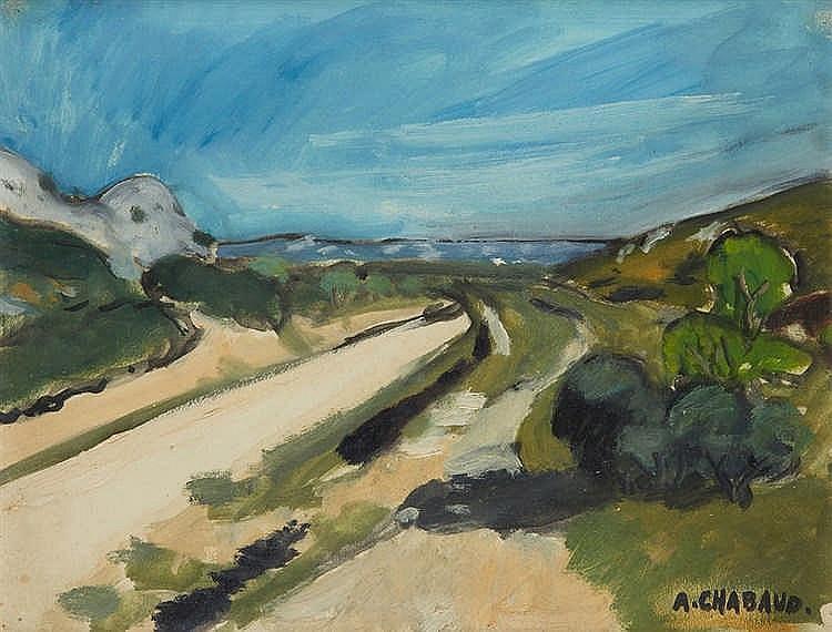 Auguste CHABAUD(1882-1955) La descente de Frigolet. Peinture sur papier,
