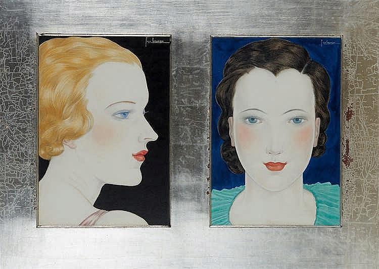 Georges LEPAPE (1887-1971)   Blonde et brune.   Deux aquarelles gouachées e