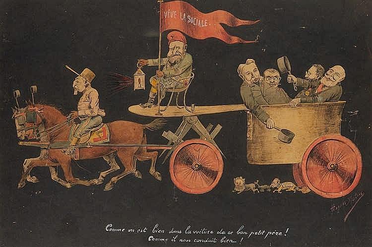 Hugues MOTUS (XXe siècle)  Dessin à la gouache sur papier, signé en bas à d
