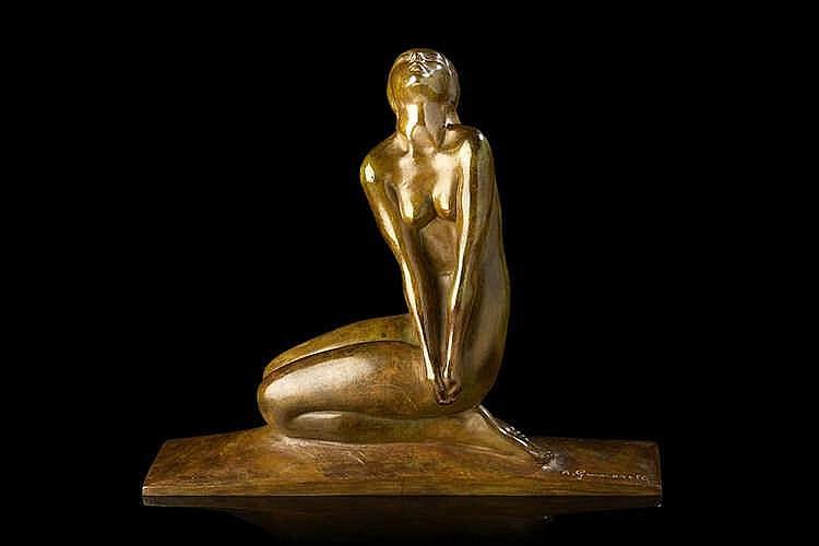 Amedeo GENNARELLI (1881-1943), d'après.  Jeune femme nue accroupie regardan