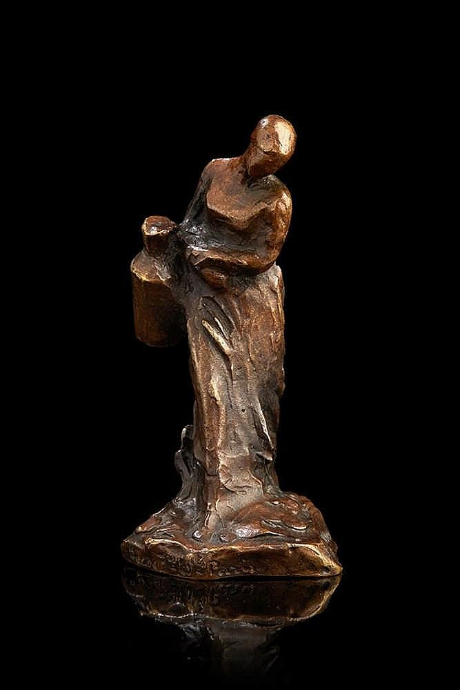 Aimé-Jules DALOU (1838-1902)   La porteuse de lait.   Épreuve en bronze pat