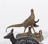 A. DUBUCAND (1828-1894)   Faisan.   Bronze à patine dorée, signé sur la te