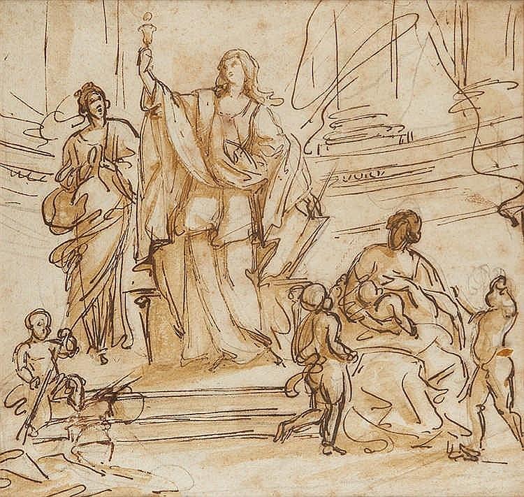 Ecole française du XVIIIe siècle.   Scène religieuse.   Dessin à la plume e