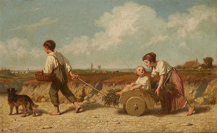 Hugues MERLE (1823-1881) Enfants à la charette et au chien. Huile sur t