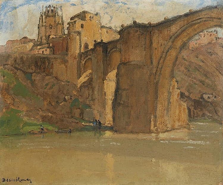 Louis Marie DÉSIRÉ-LUCAS (1869-1949) Pont Saint-Martin, Tolède. Huile s