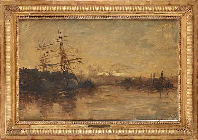 DAUBIGNY Karl (1846-1886)   Voiliers à l'entrée d'un port.   Huile sur pann
