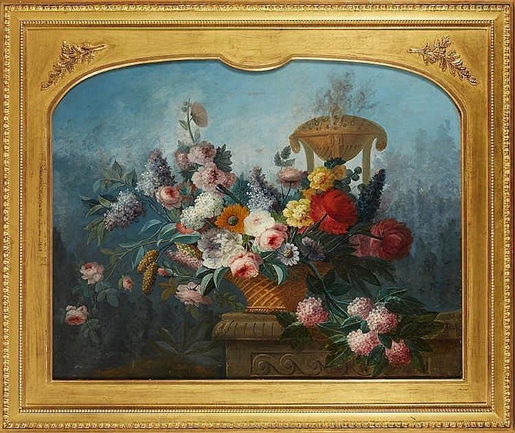 Joseph LERICHE (1738-1812) Nature morte aux fleurs Important haut de tr