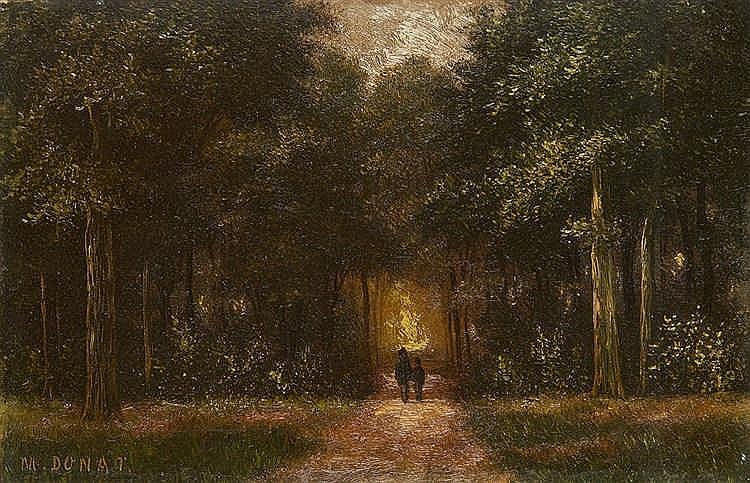 DONAT M., XIXe siècle Promeneurs au bois. Huile sur panneau, signé en bas