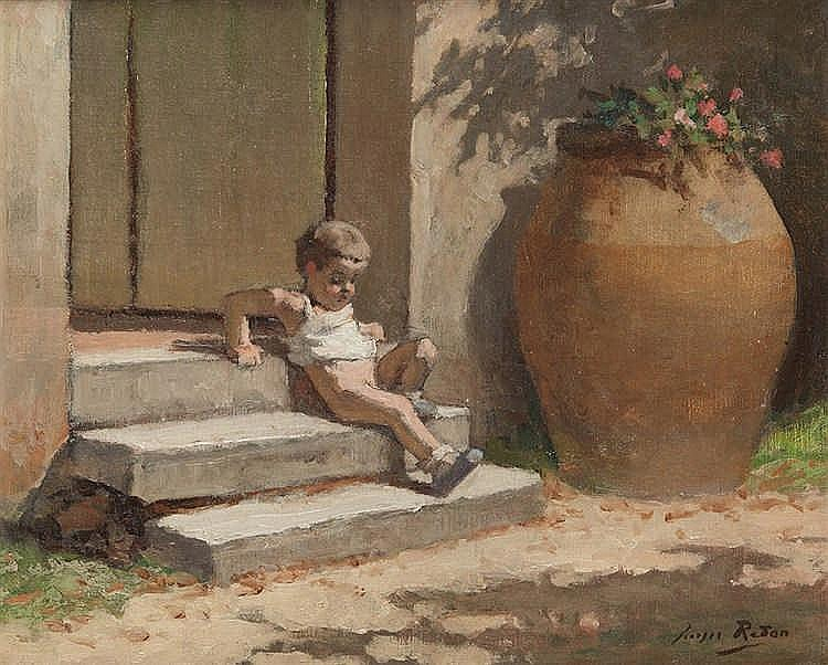 Georges REDON (1869-1943)   Jeune enfant sur des marches.   Huile sur toile