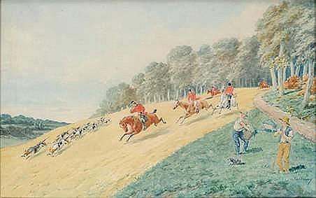 Charles Ferdinand de CONDAMY (1847-1913).  Le Débuché.   Aquarelle gouachée