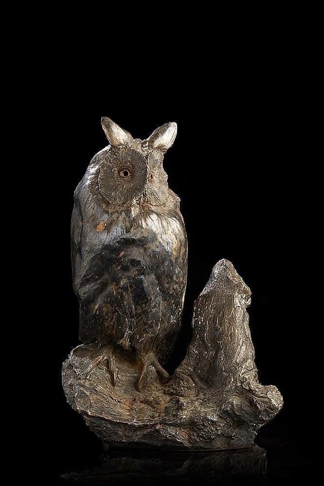 Hibou moyen-duc   en métal argenté (galvanoplastie)   Travail attribuable à