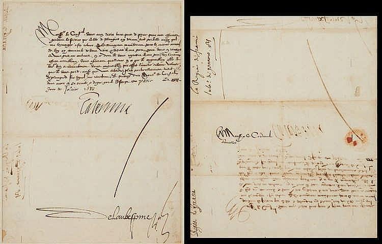 Catherine de MÉDICIS (Florence 1519-Blois 1589)   Lettre signée « Caterina