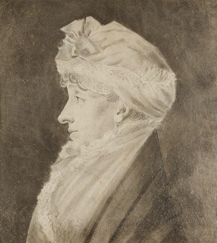 Ecole française vers 1800.   Portrait de femme de profil.   Dessin à la pie