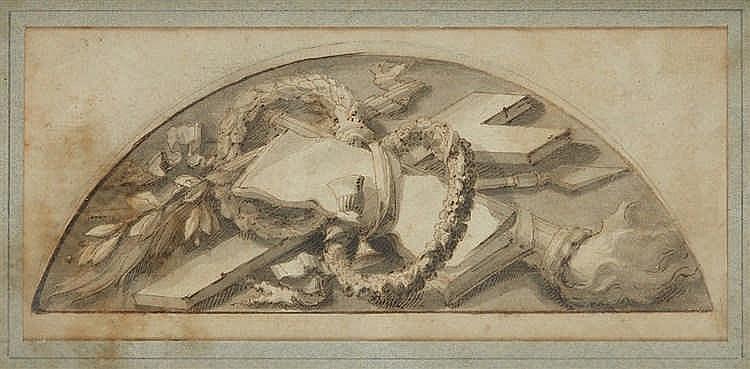 Ecole italienne du XVIIIe siècle.   Etude de trophée.   Dessin à l'encre et