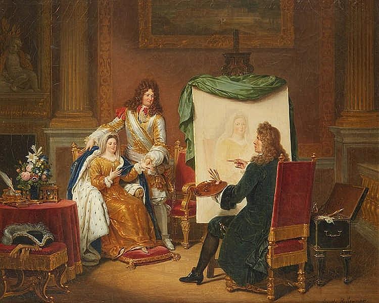 Ernest HILLEMACHER (1818 - 1887) Louis XIV et Madame de Maintenon chez Mi