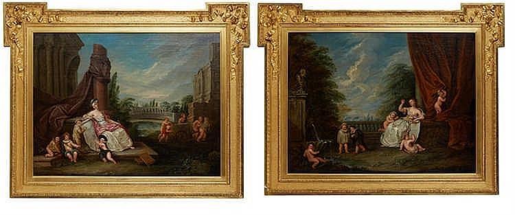 Ecole française du XVIIIe siècle, suiveur de Watteau Jeux d'enfants. Pai